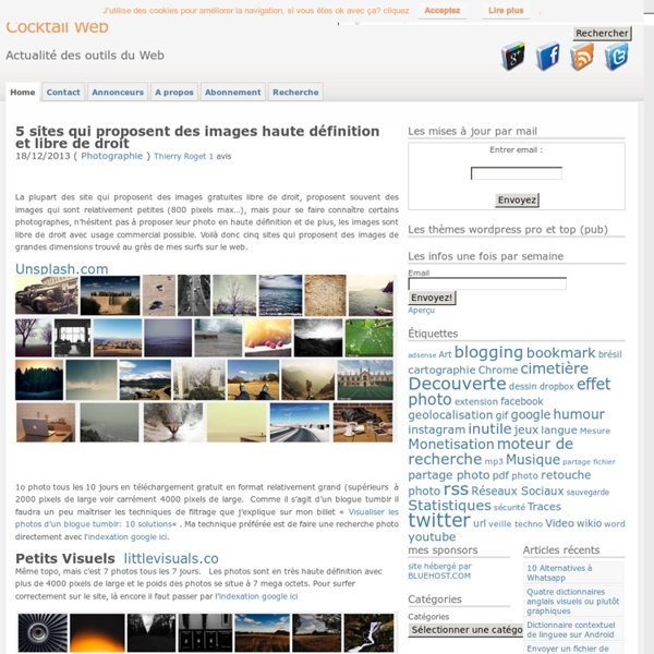 Sites qui proposent des images haute définition et libre de droit