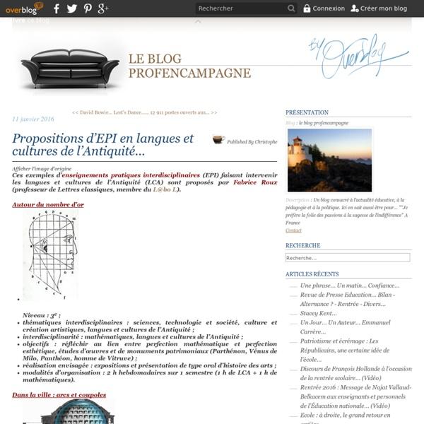 Propositions d'EPI en langues et cultures de l'Antiquité...