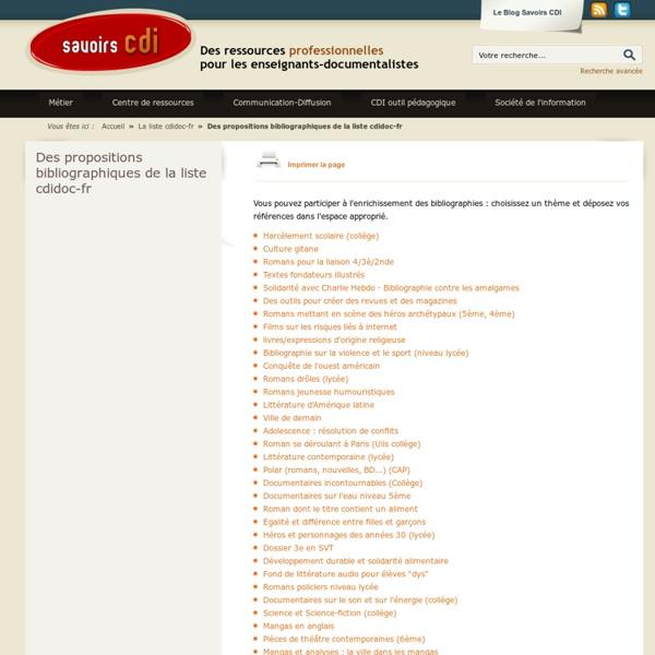 Des propositions bibliographiques de la liste cdidoc-fr