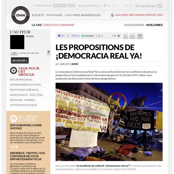 Les propositions de ¡Democracia Real Ya!
