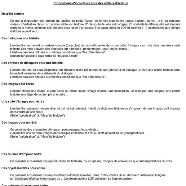 Propositions d'inducteurs pour des ateliers d'écriture