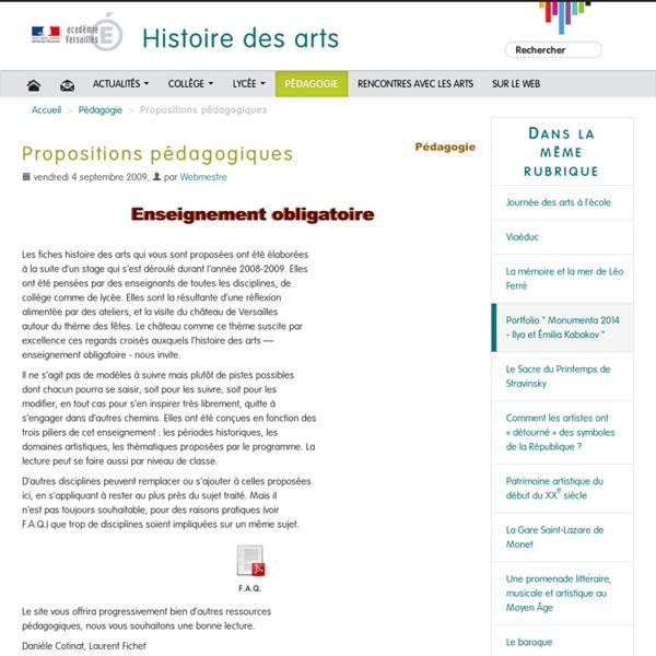 Propositions pédagogiques - Histoire des arts