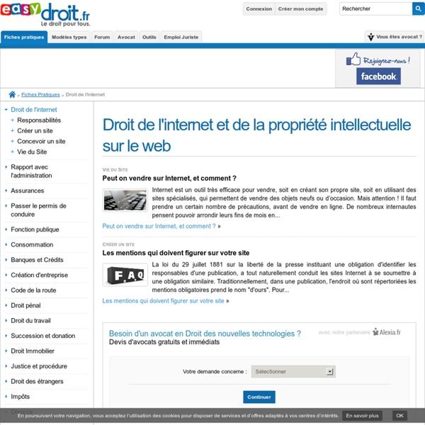 Droit de l'internet et de la propriété intellectuelle sur le web