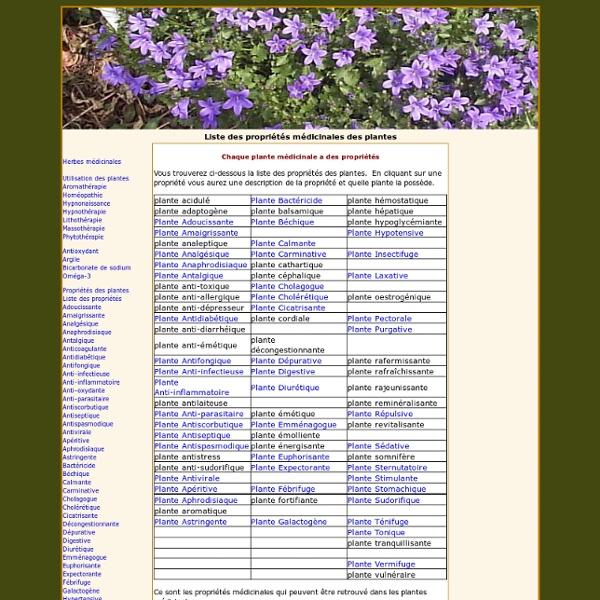 Liste des propriétés médicinales des plantes