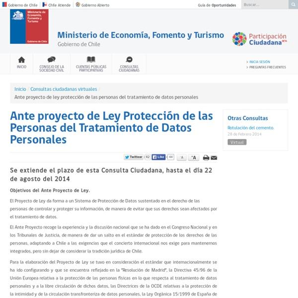 Ante proyecto de Ley Protección de las Personas del Tratamiento de Datos Personales