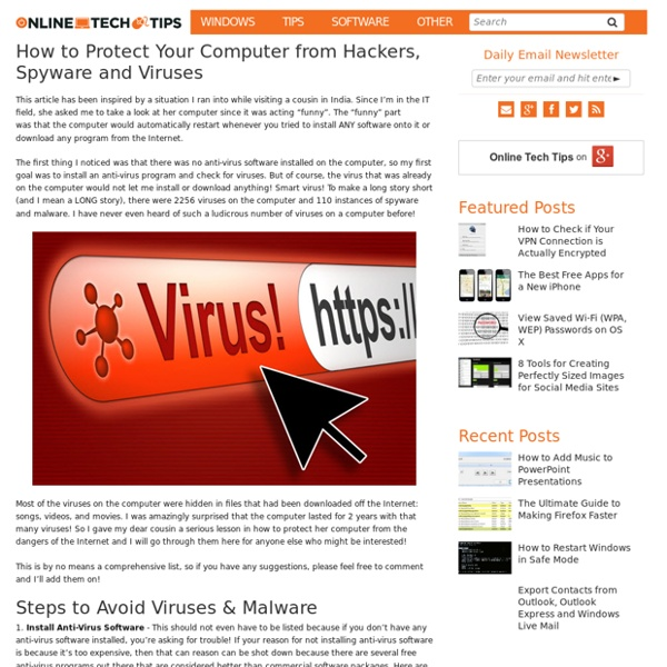 How to Protect Your Computer from Hackers, Spyware and Viruses