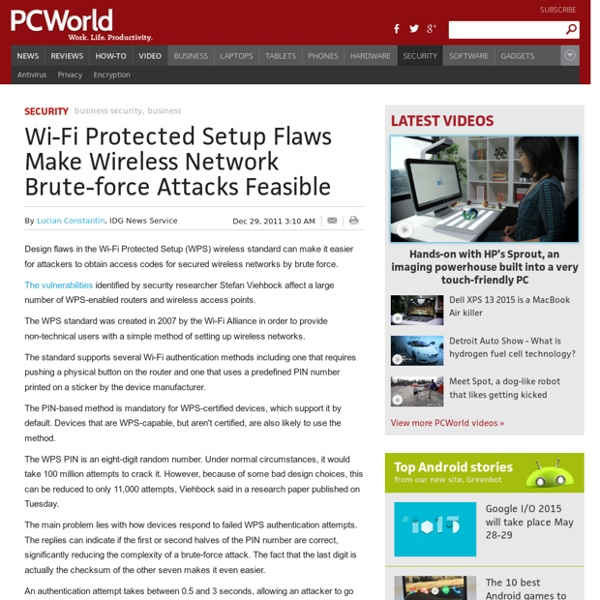 Wi-Fi Protected Setup Flaws Make Wireless Network Brute-force Attacks Feasible