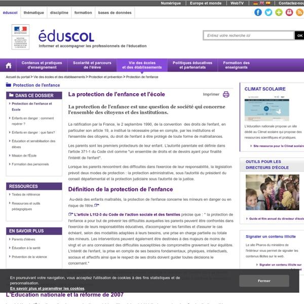 Protection de l'enfance - Protection de l'enfance et Ecole