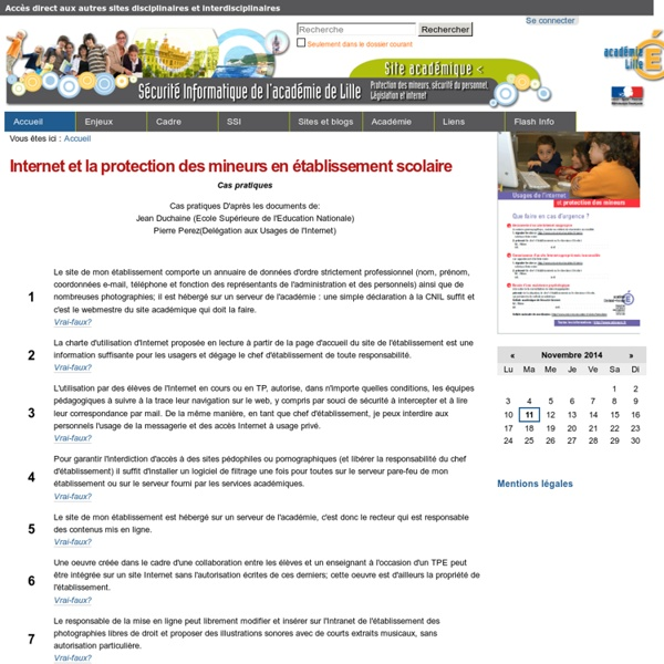 Internet et la protection des mineurs en établissement scolaire — Protection Mineur