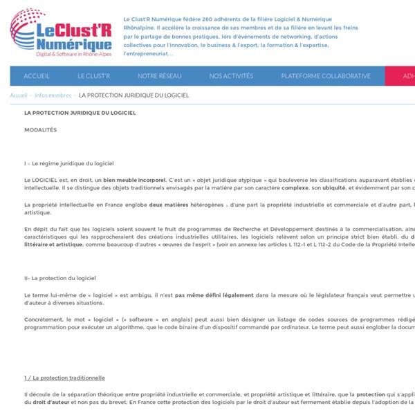 LA PROTECTION JURIDIQUE DU LOGICIEL - Le Clust'R Numérique - Digital & Software in Auvergne - Rhône-Alpes