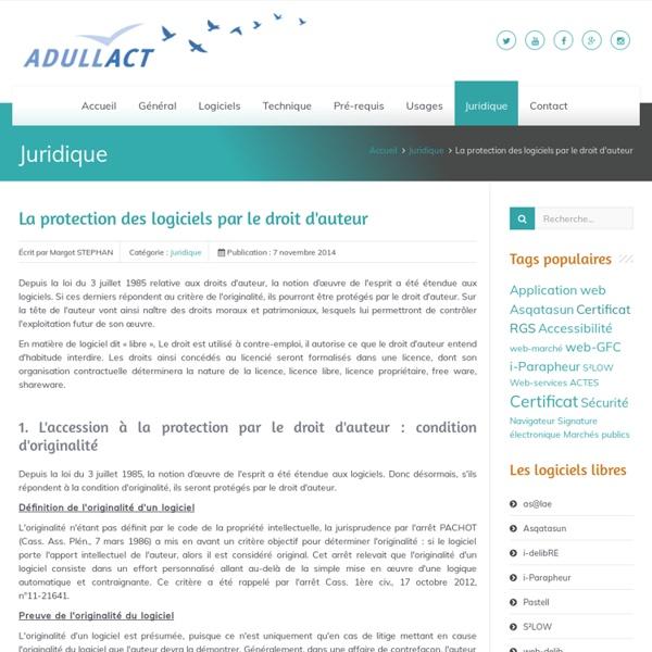 La protection des logiciels par le droit d'auteur