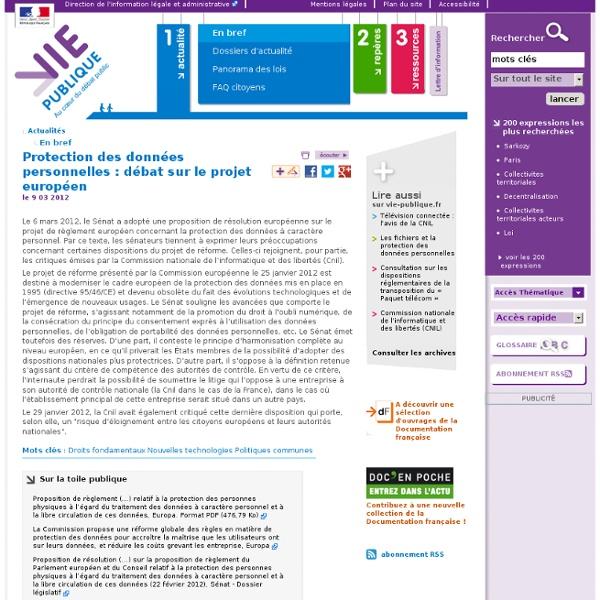 Protection des données personnelles, projet de reforme européen, cnil,