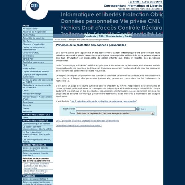 Principes de la protection des données personnelles - Fil d'actualité du Service Informatique et libertés du CNRS