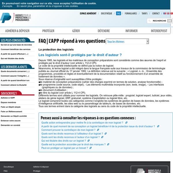 Les logiciels sont-il protégés par le droit d'auteur? - APP - Agence pour la Protection des Programmes