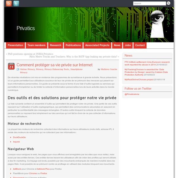 Comment protéger sa vie privée sur Internet » Privatics