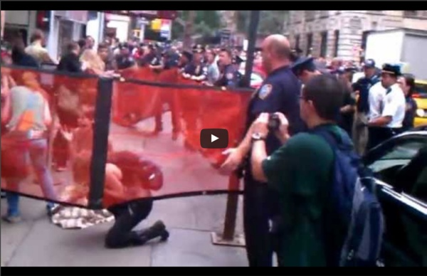 PEACEFUL FEMALE PROTESTORS PENNED IN THE STREET AND MACED!- #OccupyWallStreet