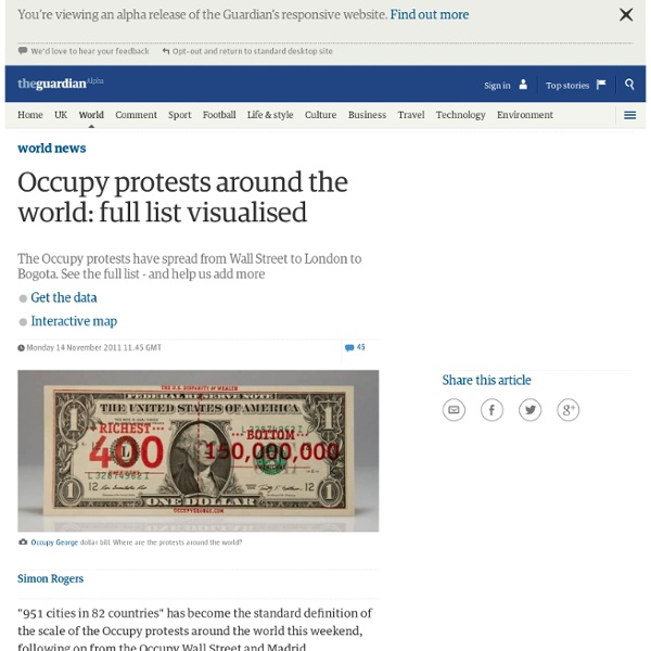 Occupy protests around the world: full list visualised