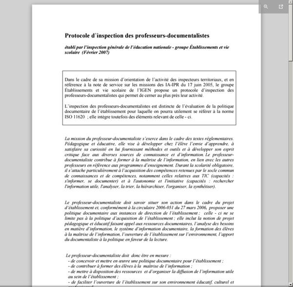 Protocole d'inspection des professeurs documentalistes