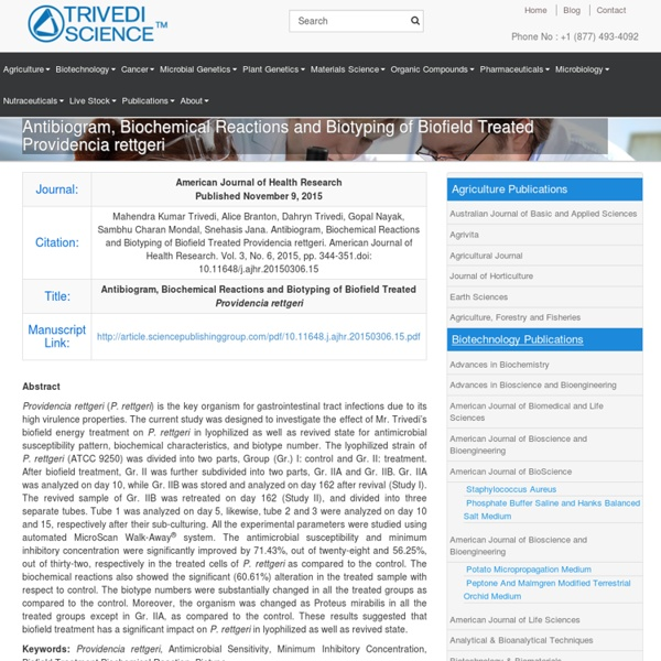 Providencia Rettgeri Biochemical Reactions Analysis