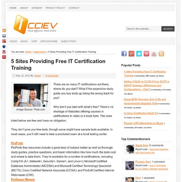 5 Sites Providing Free IT Certification Training