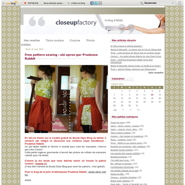 Free pattern sewing : obi apron par Prudence Rabbit