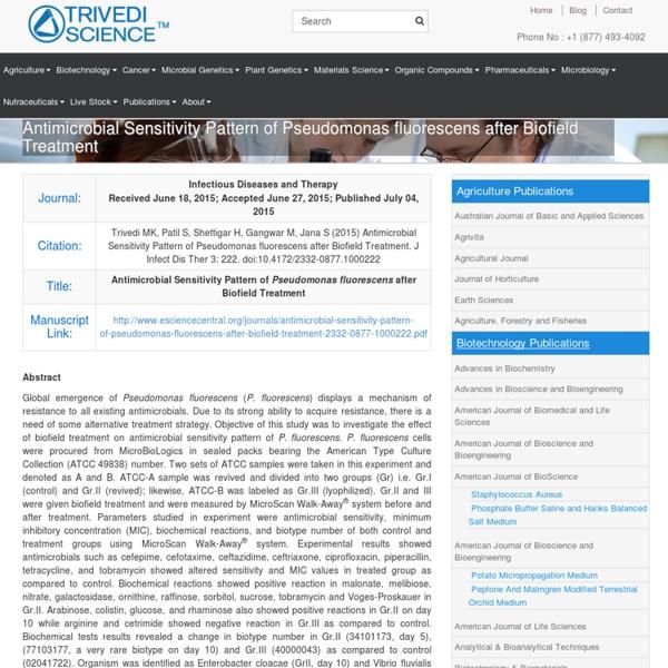 Assessment of Pseudomonas Fluorescens Antibiotic Susceptibility