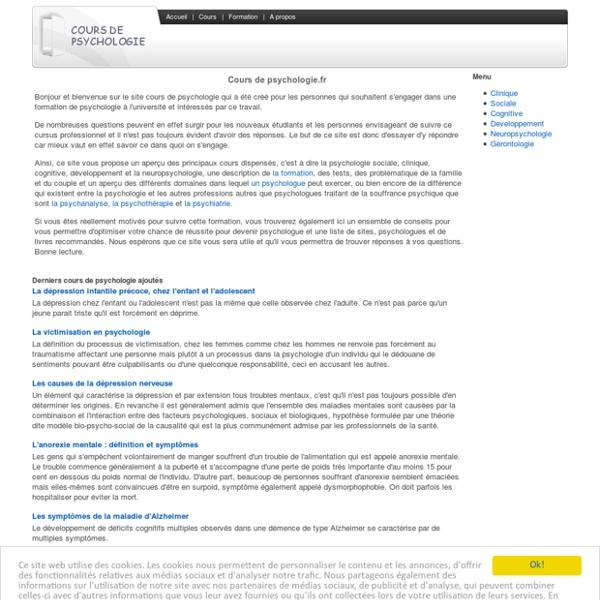 Cours de psychologie sociale, cognitive, clinique, neuro et développement