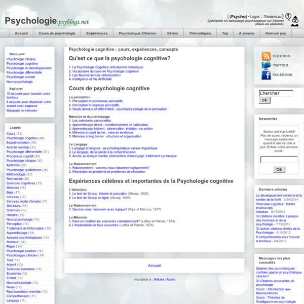 Psychologie cognitive : cours, expériences, concepts
