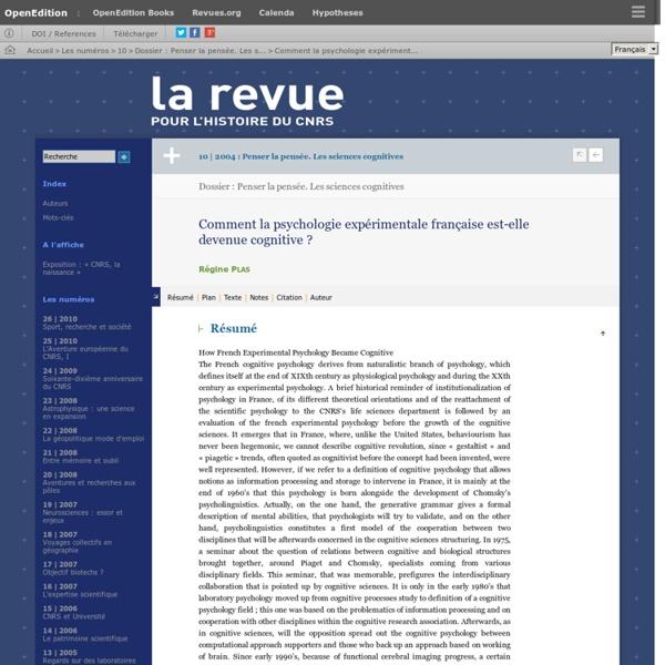 Comment la psychologie expérimentale française est-elle devenue cognitive?