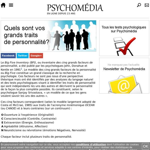 Test psychologique: Inventaire des cinq facteurs de personnalité