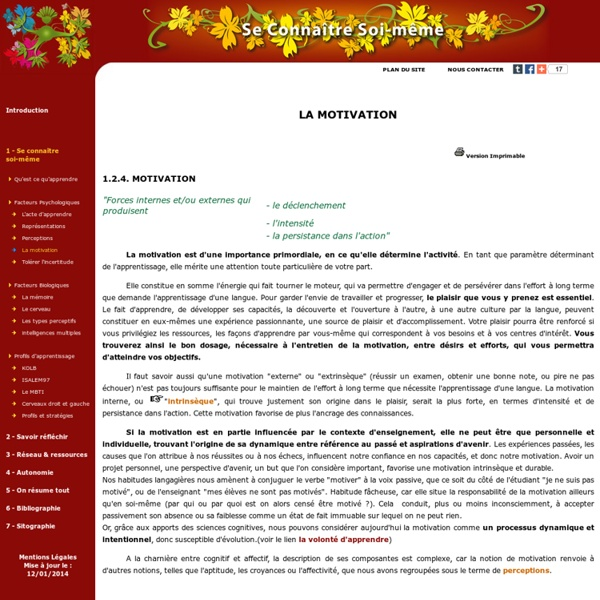 Facteurs Psychologiques / La motivation