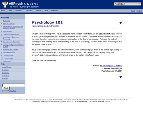 Psychology 101 at AllPsych Online