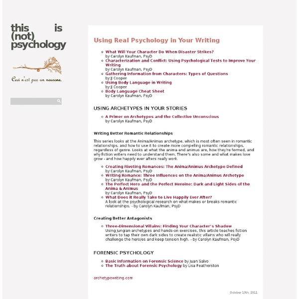 Using Psychology in writing