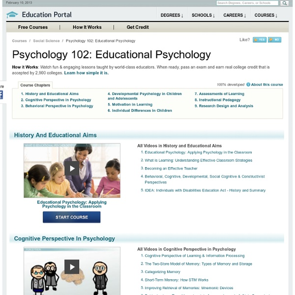 Psychology 102: Educational Psychology Course - Free Online Video Lessons