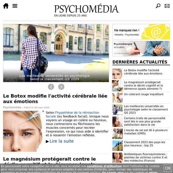 Psychologie, santé mentale, santé, encyclopédie, actualités, tests