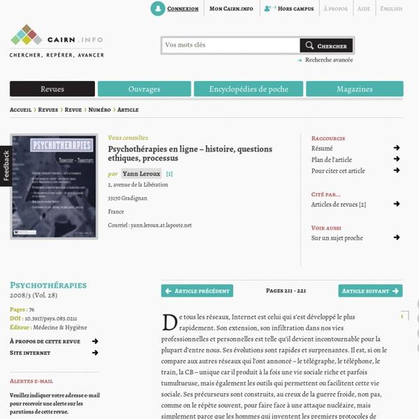 Psychothérapies en ligne – histoire, questions ethiques, processus