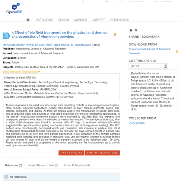 Publication:Effect of bio field treatment on the physical and thermal characteristics of Aluminium powders