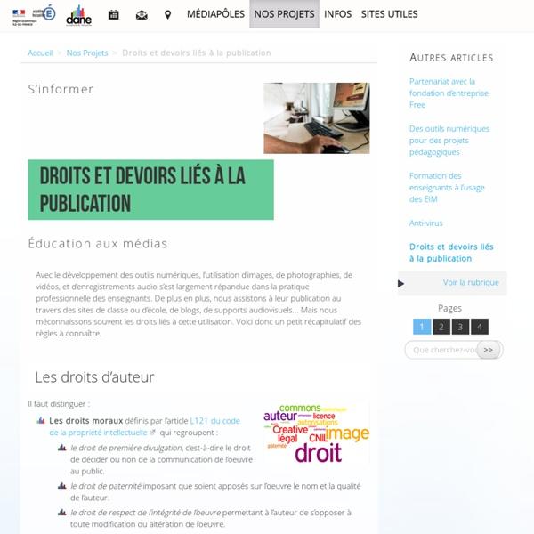 Droits et devoirs liés à la publication - Délégation académique au numérique éducatif