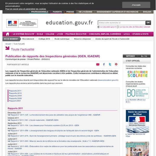Publication de rapports des inspections générales (IGEN, IGAENR)