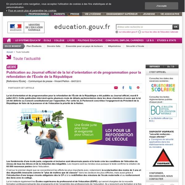 Publication de la loi d'orientation et de programmation pour la refondation de l'École