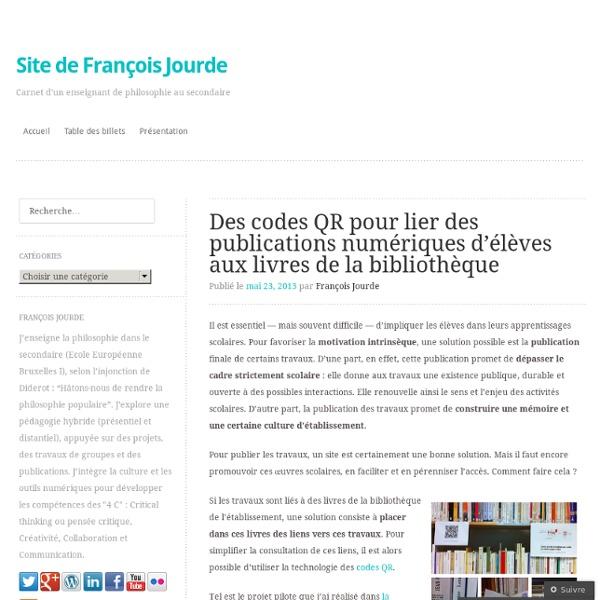 Des codes QR pour lier des publications numériques d'élèves aux livres de la bibliothèque