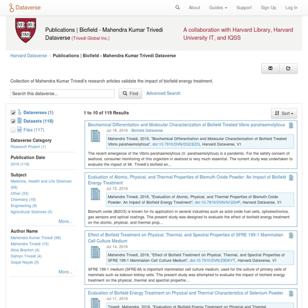 Mahendra Kumar Trivedi's Biofield Publication Dataverse