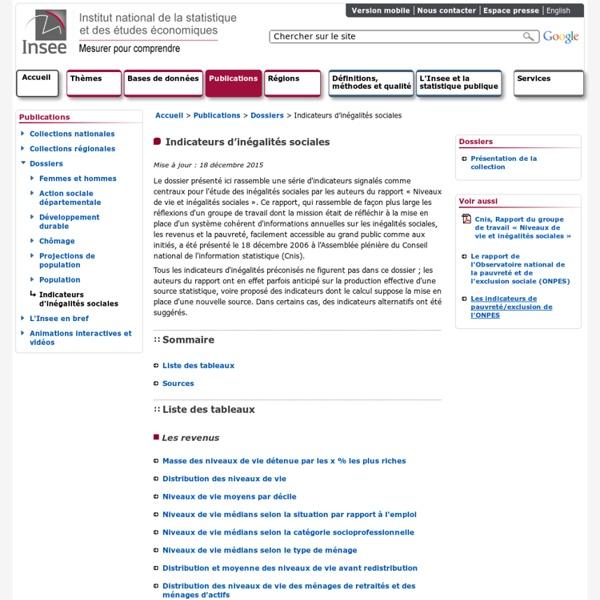 Publications - Indicateurs d'inégalités sociales