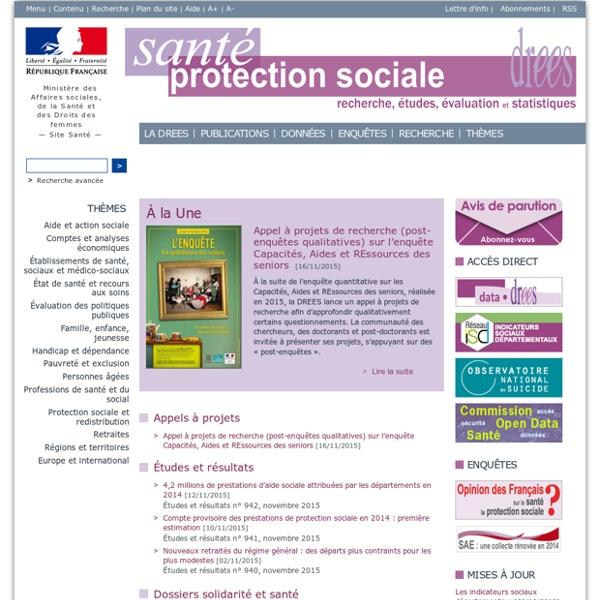 Publications et statistiques - Drees - Ministère des Affaires sociales et de la Santé