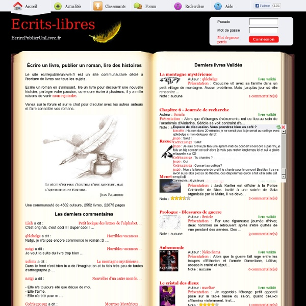 Ecrire Un Livre Publier Un Roman Ou Lire Sur Internet