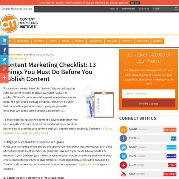 Content Marketing Checklist: 13 Things You Must Do Before You Publish Content