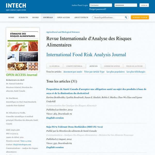REVUE INTERNATIONALE D'ANALYSE DES RISQUES ALIMENTAIRES - 2013 - Au sommaire:Examen des Réactions D'intolérance aux Aliments et