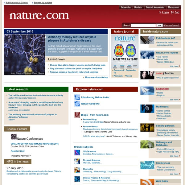 Nature Publishing Group : science journals, jobs, and information