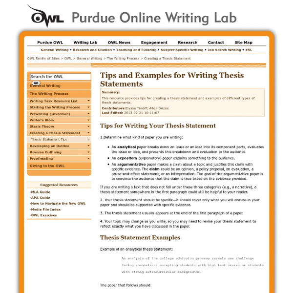 purdue owl thesis paragraph Writing resources this page links to the purdue university online writing lab (owl) and everything in the paragraph relates to that thesis-its controlling idea.