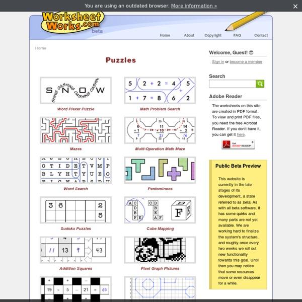 Puzzles - WorksheetWorks.com